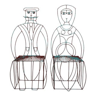 Pair of Figural His and Hers Steel Wire Patio Chairs by John Risley For Sale
