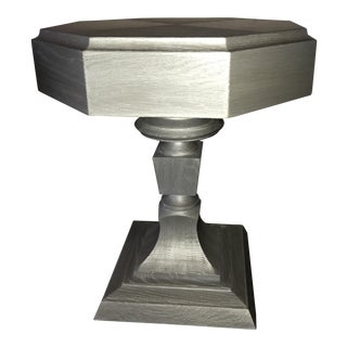 Truex Grey Oak Ceruse Rook Side Table For Sale