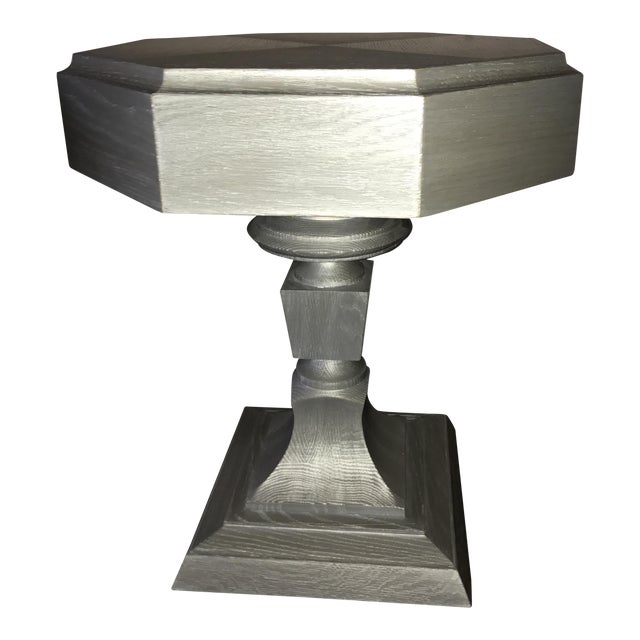 Truex Grey Oak Ceruse Rook Side Table - Image 1 of 4