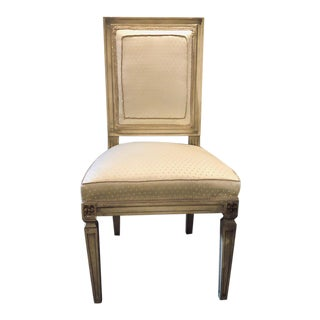 Maison Jansen Style Dining Chair Faux Linen Paint Decorated With New Upholstery For Sale