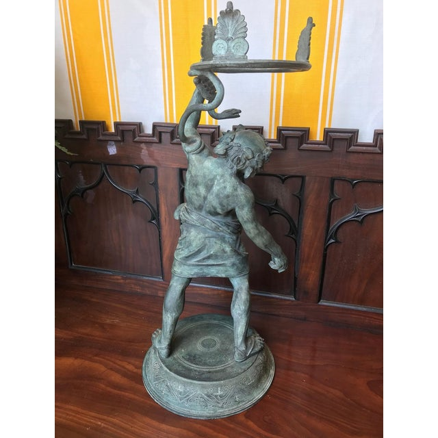 Bronze 19th Century Grand Tour Patinated Bronze Silenus Lamp For Sale - Image 7 of 8