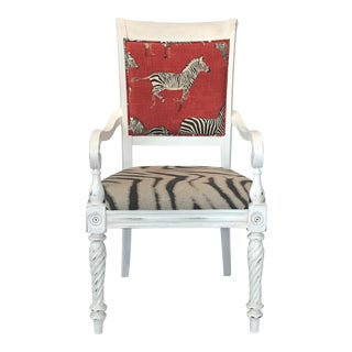 1980s Neo-Classical Zebra-Print Upholstered Distressed Arm Chair