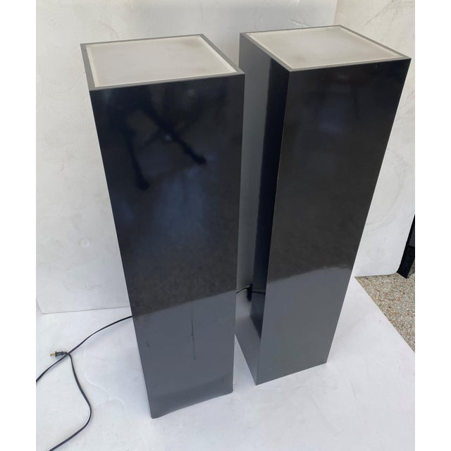Vintage Pedestals Illuminated Black and Frosted Lucite - a Pair For Sale - Image 11 of 12