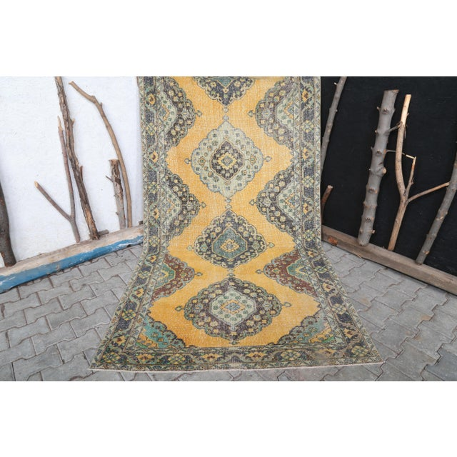 1960's Vintage Turkish Hand-Knotted Wide Long Runner-4′7″ × 12′10″ For Sale - Image 9 of 11