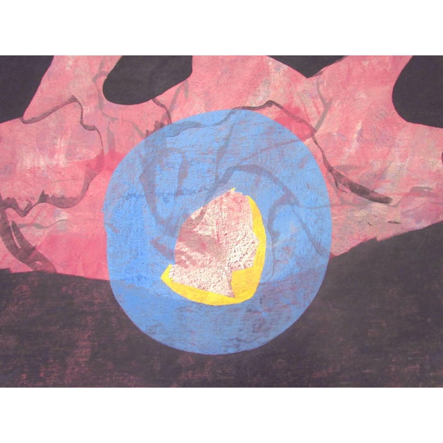 """Measure: Large (52.75"""" x 42.5"""") abstract painting by noted French artist Jeanick Bouys, titled """"No. 211"""" and dated 1983."""