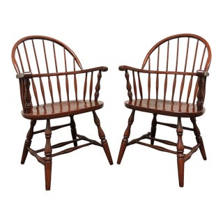 Late 20th Century Solid Cherry Windsor Armchairs 1 - a Pair For Sale