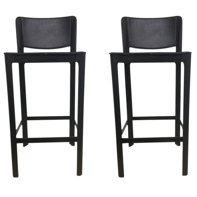 Vintage Matteo Grassi Italian Leather Bar Stools- A Pair - Image 1 of 4