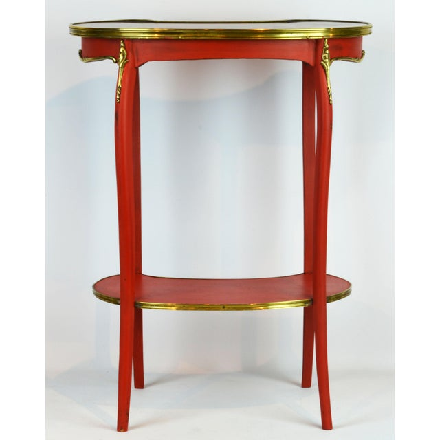 Late 19th Century French Provincial Painted & Bronze-Mounted Kidney Shape Accent Table For Sale - Image 5 of 12