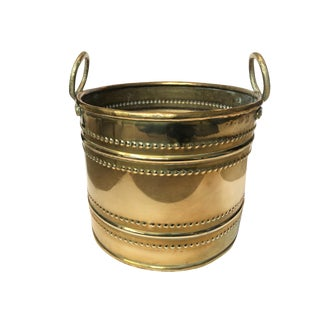 Vintage Mid Century Large Brass Planter For Sale