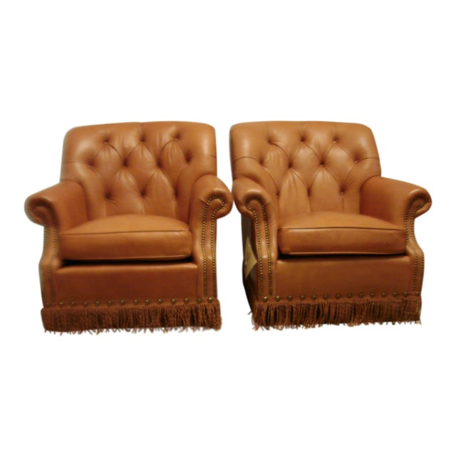 Leather Chairs With Tufting & Fringe - Pair - Image 1 of 7