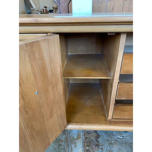 Brown Mid Century Modern Burl Wood Credenza With Inset Marble Top - American of Martinsville For Sale - Image 8 of 12