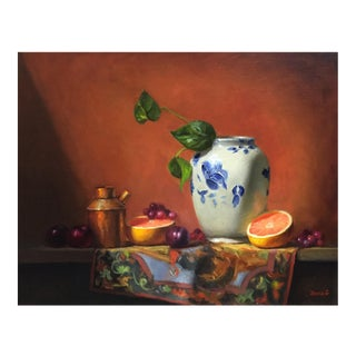 Chinese Vase & Grapefruit Still Life Painting For Sale