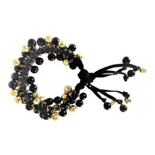 Ysl Gold and Black Bead Tie Bracelet For Sale