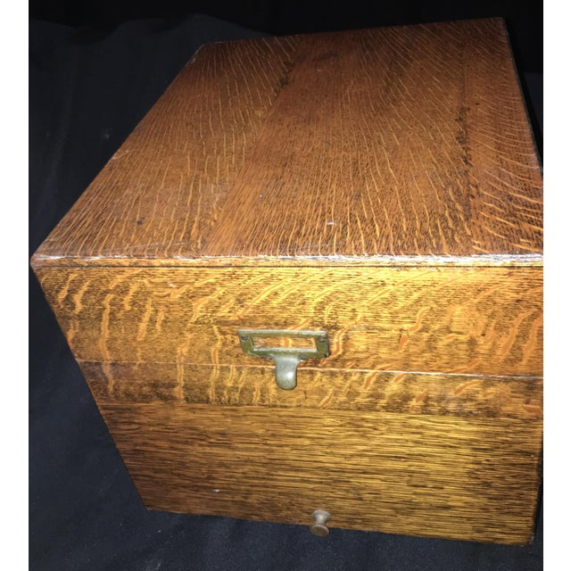 Arts & Crafts 1920s Arts and Crafts Flamed Oak Filing Box For Sale - Image 3 of 6