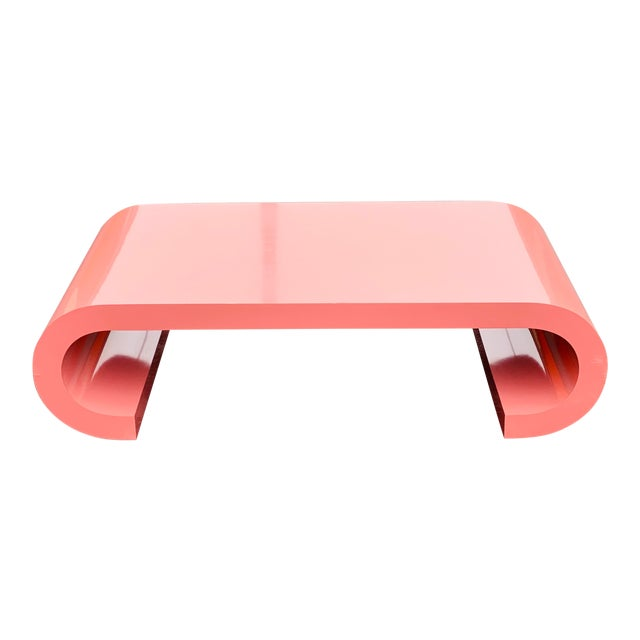1980s Post Modern Pink Laminate Waterfall Coffee Table For Sale