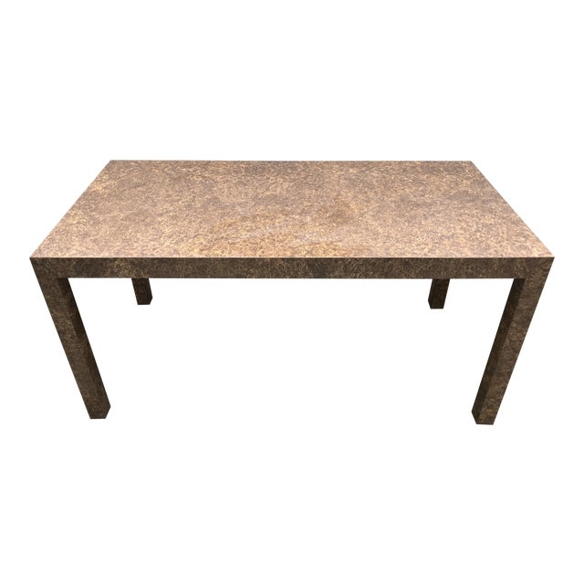Vintage Burl Wood Laminate Parsons Style Dining Table For Sale