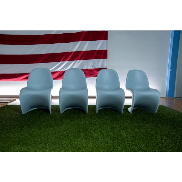 2000 - 2009 Vintage Mid Century Verner Panton Chairs - Set of 4 For Sale - Image 5 of 5