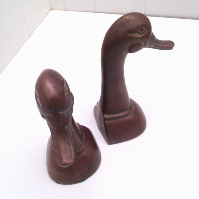 Large Brass Duck Head Bookends - Image 4 of 5
