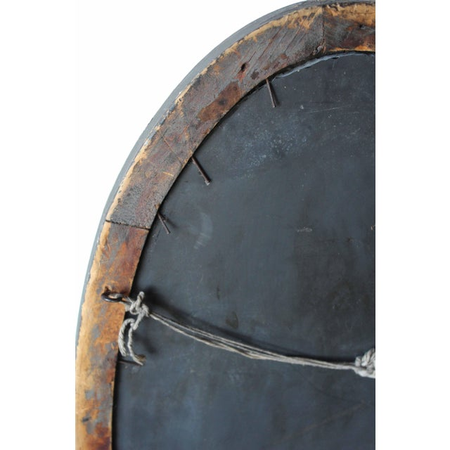 Brown Antique Oval Mirror For Sale - Image 8 of 10