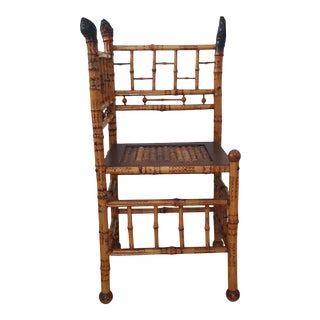 1950s French Burnt Bamboo Corner Chair For Sale
