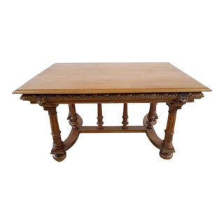Jacobean Style 1930's French Carved Solid Oak X-Stretcher Dining Table