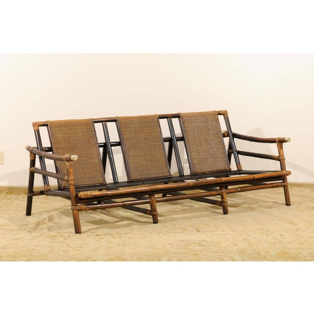 Brown Rare Restored Sofa by John Wisner for Ficks Reed- Four Available For Sale - Image 8 of 11