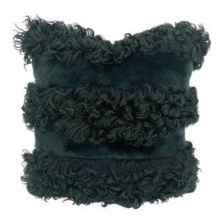 Dark Teal Mixed Sheepskin Pillow by Tasha Tarno For Sale