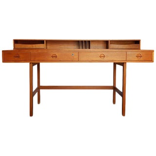 1970s Danish Modern Teakwood Flip-Top Table Desk by Løvig of Denmark For Sale