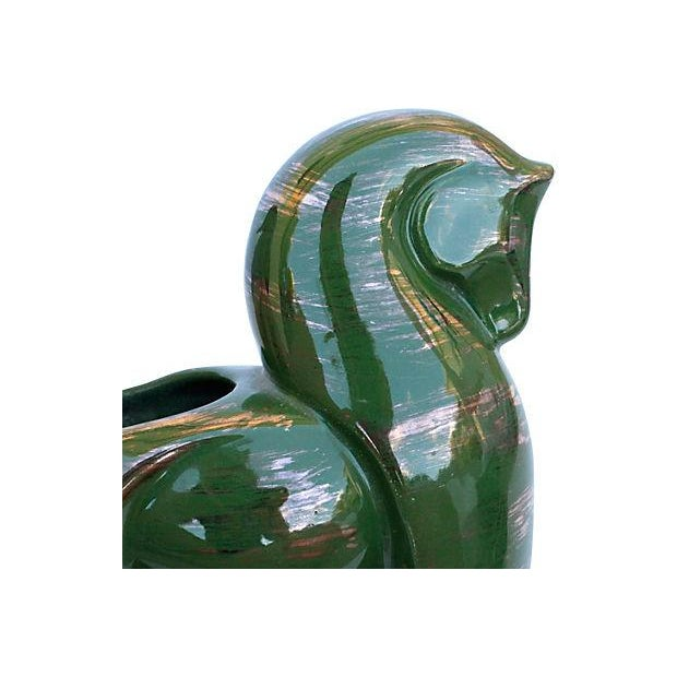 Mid-Century Green & Gold Pottery Horse Dish - Image 4 of 4