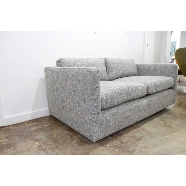 Charles Pfister for Knoll Settee in Pollack Blue Weave Fabric For Sale - Image 9 of 10