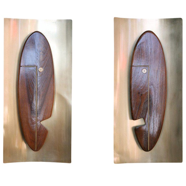 "Mid-Century ""Face"" Wall Art Sculpture Pair by Westwood Chadwick - 50th Anniversary Sale For Sale"