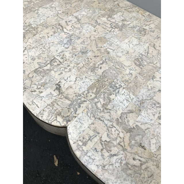 Maitland-Smith Tessellated Fossil Stone Console with Brass Inlays For Sale In Chicago - Image 6 of 9