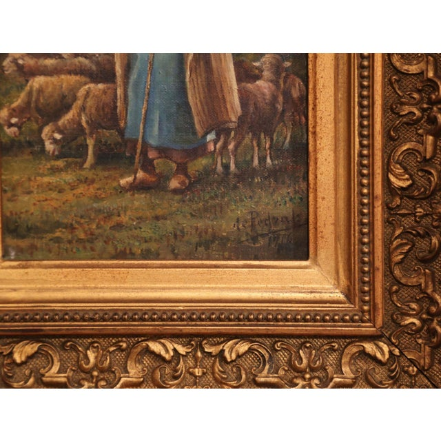 Early 20th Century French Gilt Framed Sheep Painting Signed De