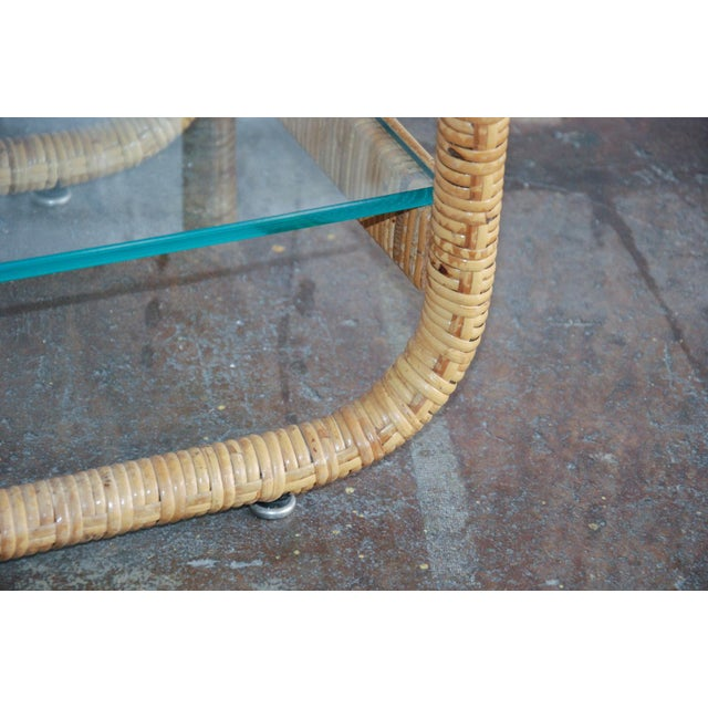 Circa 1970, Mid-Century Modern, Rattan, Glass, Étagère For Sale In Richmond - Image 6 of 8
