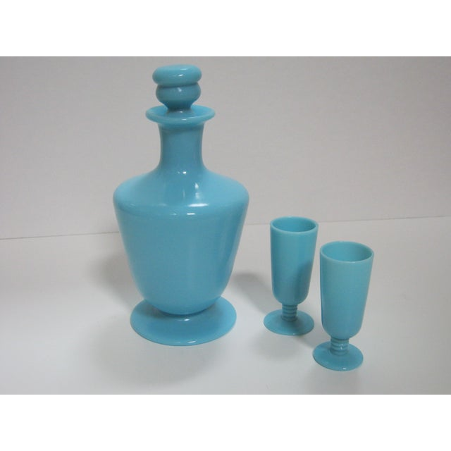 French Opaline Cordial Decanter & Glasses - Set of 3 - Image 3 of 6