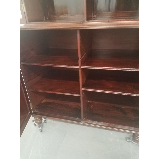 Antique English Bookcase Cupboard - Mahogany With Marquetry For Sale - Image 9 of 13