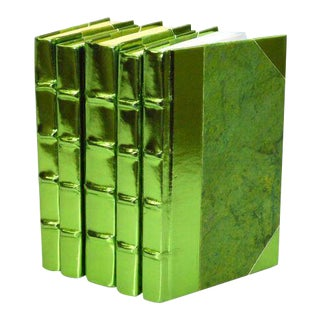 Metallic Collection Apple Green Books - Set of 5 For Sale