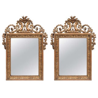 Pair of 19th C. Empire Giltwood and Bronze Mirrors For Sale