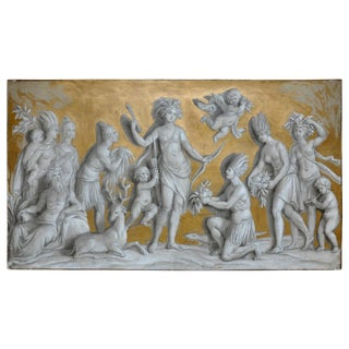 19th Century French Neoclassical Grisaille Over Door Panel of the Americas For Sale
