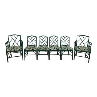 Vintage Faux Bamboo Hollywood Regency Chinese Chippendale Chairs - Set of 6 For Sale