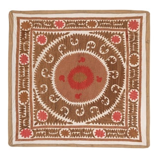 Vintage Suzani Wall Hanging Decor With Pastel Colors For Sale