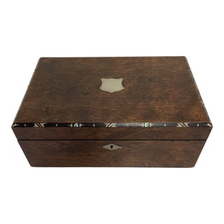 19th Century Hand Made Wooden With Silver Inlay Marquetry Humidor Box For Sale
