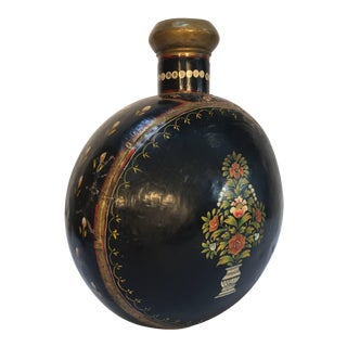 Mid Century Hand-Hammered Anglo Raj Black Hand-Painted Jug For Sale