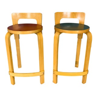 Pair of Finnish Mid-Century Modern Alvar Aalto Bar Stools / High Chair for Artek For Sale