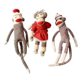 Vintage Sock Monkeys - Set of 3 For Sale
