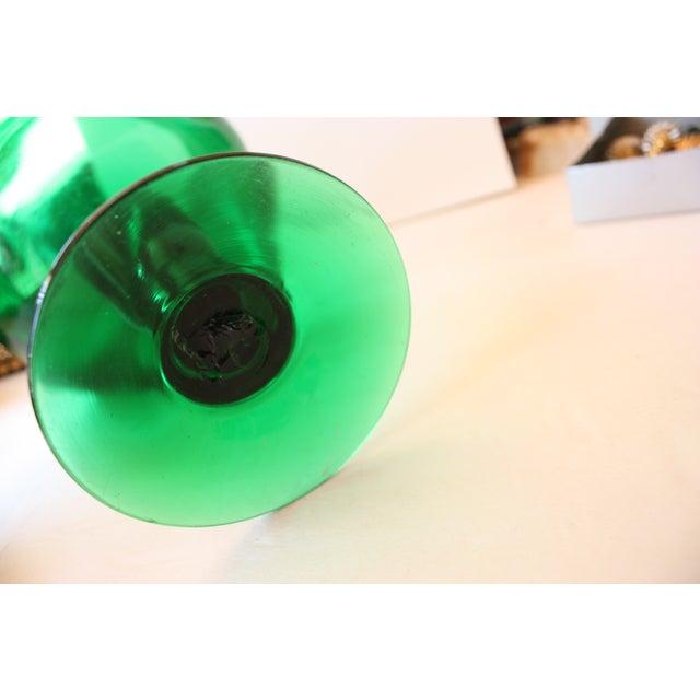Mid-Century Emerald Glass Pedestal Dish - Image 3 of 4