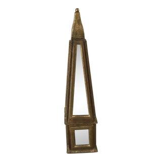 Antiqued Gold Mirrored Obelisk For Sale