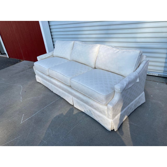 Mid-Century White Tuxedo Skirted Sofa For Sale - Image 12 of 13