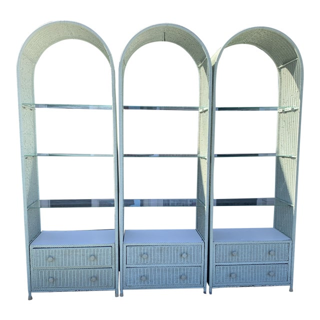 Tall Vintage Wicker Etageres Shelving - Set of 3 For Sale