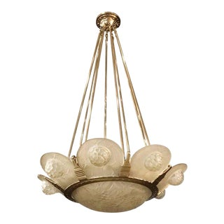 French Art Deco Chandelier by Simonet Freres For Sale